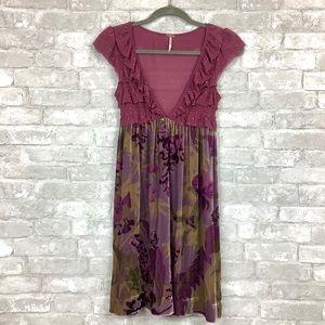 Free People Floral Ruffle Velvet Dress